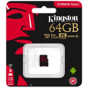 KINGSTON MicroSD da 64GB UHS-I 100MB / s in lettura e 80MB / s in scrittura